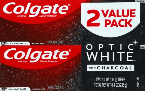 Colgate Optic White with Charcoal Cool Mint Striped Paste Teeth Whitening Toothpaste Perspective: front