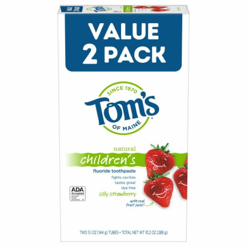 Tom's of Maine Silly Strawberry Natural Children's Fluoride Toothpaste Perspective: front