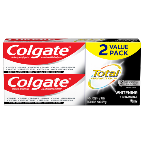 Colgate Total Whitening + Charcoal Toothpaste Value Pack Perspective: front