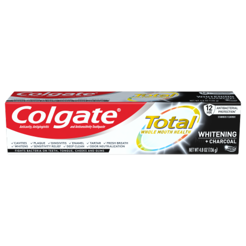 Colgate Total Whole Mouth Health Whitening + Charcoal Toothpaste Perspective: front