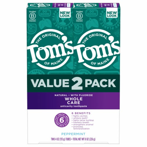 Tom's Whole Care Peppermint Flouride Toothpaste Value Pack Perspective: front