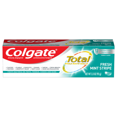 Colgate Total Fresh Mint Stripe Toothpaste Perspective: front