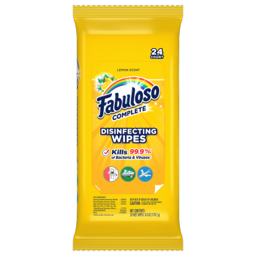 Fabuloso Complete Lemon Scent Disinfecting Wipes Perspective: front