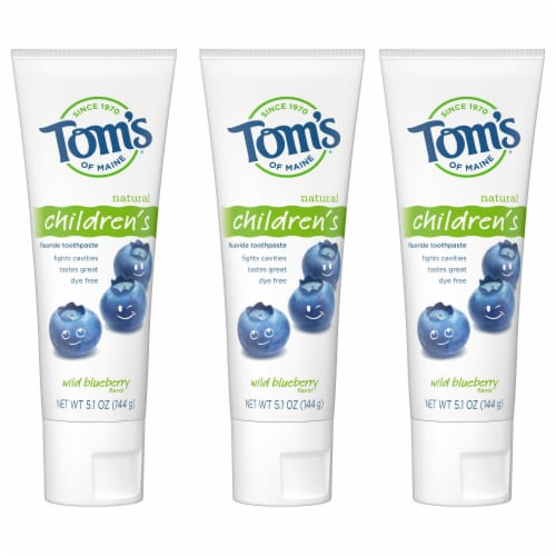 Tom's of Main Wild Blueberry Natural Children's Fluoride Toothpaste Perspective: front