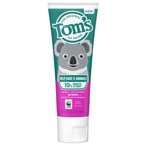 Tom's of Maine Kids Help Save the Animals Grape Anticavity Gel Toothpaste Perspective: front