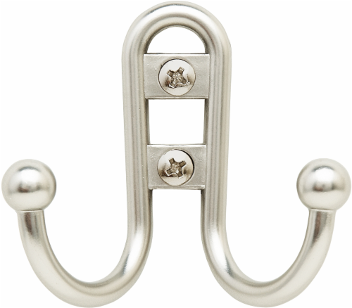 Bulldog Double Prong Robe Hook - Satin Nickel Perspective: front