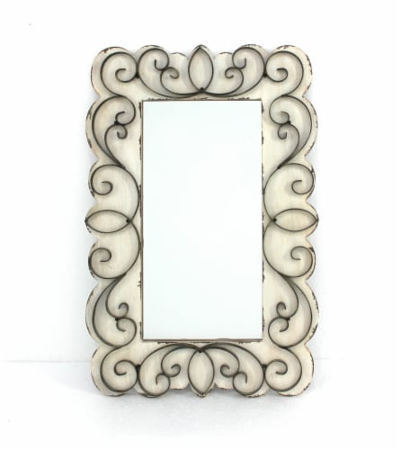 Vintage Decorative Wood & Metal Wall Mirror Perspective: front