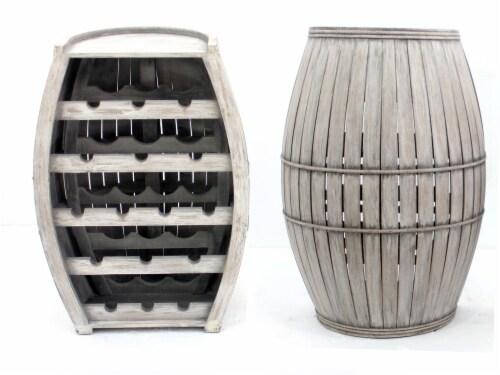 Teton Home Antique Cool Half-barrel Shaped Wooden Wine Rack Perspective: front