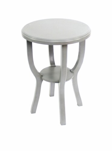 Teton Home Country Cottage Style Light Grey Wooden Stool Perspective: front