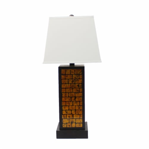 Contemporary Black Metal Table Lamp with Yellow Brick Pattern Perspective: front