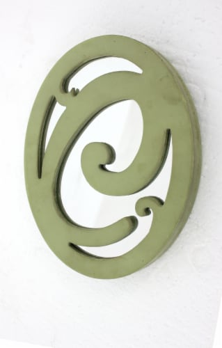Cottage Style Artistic Letter C Patterned Green Wall Decor Perspective: front