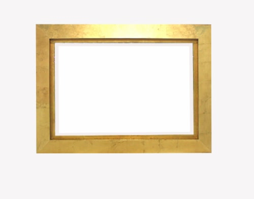 Contemporary Rectangular Gold Cosmetic Mirror Perspective: front