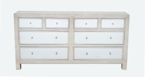 Modern Mirrored Console Table with 8 Drawers Perspective: front