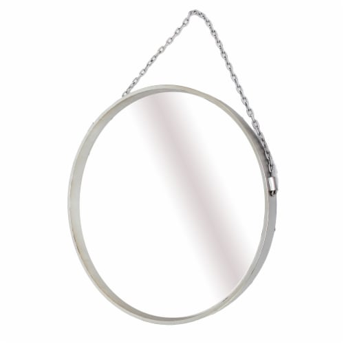 Modern Round Metal Framed Mirror with Chain Perspective: front