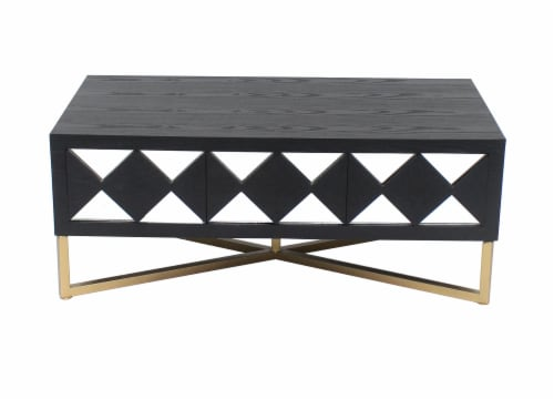 TETON HOME 3 DRAWER MIRRORED  COFFEE TABLE - AF-116 Perspective: front