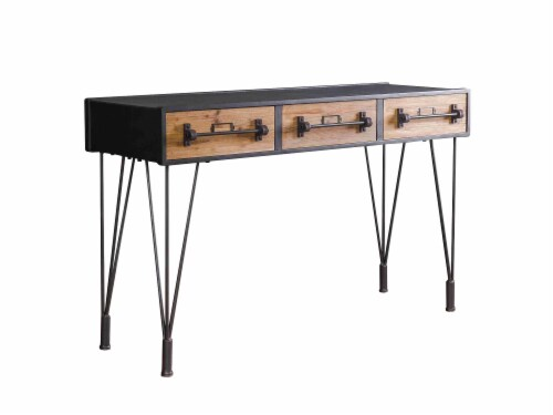 Minimalist Industrial Iron Console Table with Antiqued Faade Perspective: front