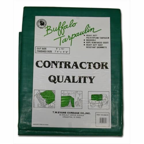 T.W. Evans Cordage G1020 10 ft. x 20 ft. Contractor Grade Poly Tarp in Black and Green Perspective: front