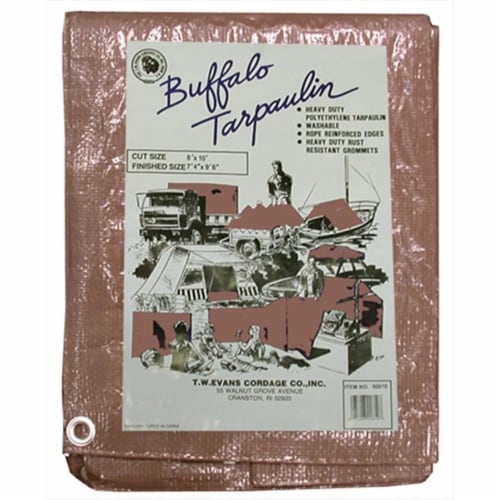 T.W. Evans Cordage B0608 6 ft. x 8 ft. Buffalo Poly Tarp in Brown Perspective: front