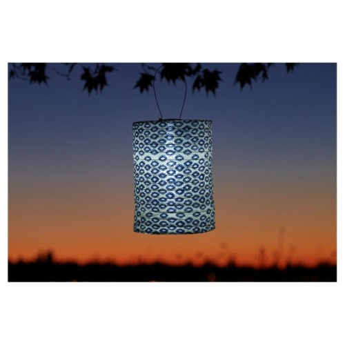 Allsop Home & Garden 31593 Soji Printed Cylinder Lantern, Tribal Diamond Perspective: front