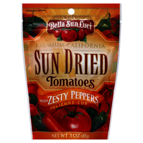 Bella Sun Luci Julienne Cut Sun Dried Tomatoes with Zesty Peppers Perspective: front