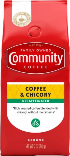 Community Coffee Coffee & Chicory Decaffeinated Ground Coffee Perspective: front