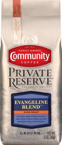 Community Coffee Private Reserve Evangeline Blend Dark Roast Ground Coffee Perspective: front