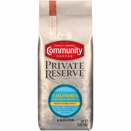 Community Coffee Private Reserve Colombia Medium-Dark Roast Ground Coffee Perspective: front
