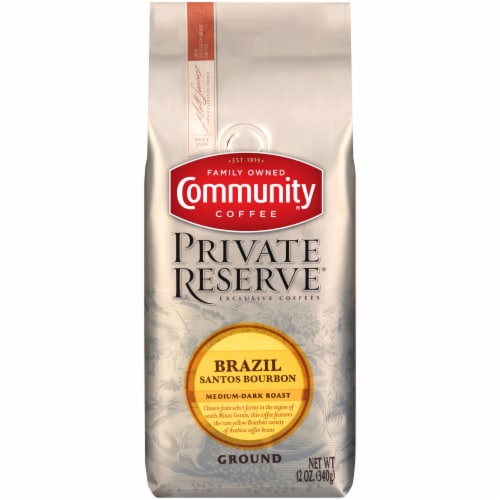 Community Coffee Private Reserve Brazil Medium Dark Roast Ground Coffee Perspective: front