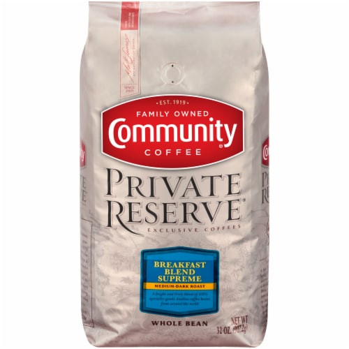 Community Coffee Private Reserve Breakfast Blend Supreme Medium-Dark Roast Whole Bean Coffee Perspective: front