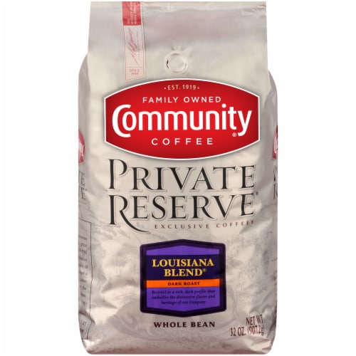 Community Coffee Private Reserve Louisiana Blend Dark Roast Whole Bean Coffee Perspective: front