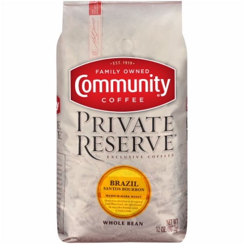 Community Coffee Private Reserve Brazil Santos Bourbon Medium-Dark Roast Whole Bean Coffee Perspective: front