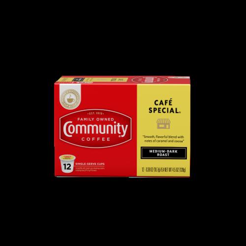 Community Coffee Cafe Special Medium-Dark Roast Coffee Single-Serve Cups Perspective: front