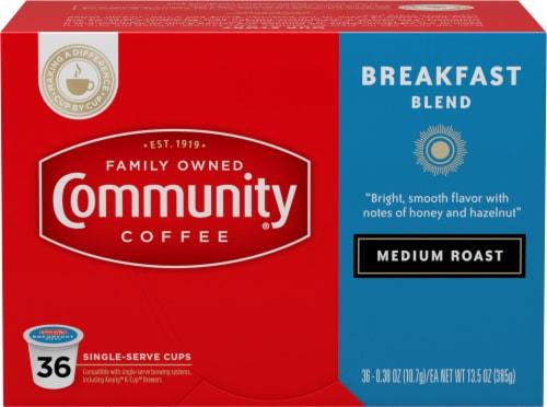 Community Coffee Breakfast Blend Medium Roast Coffee Single-Serve Cups Perspective: front
