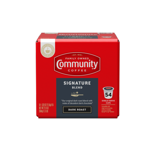 Community Coffee Signature Blend Dark Roast Coffee Single-Serve Cups Perspective: front