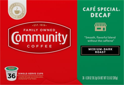 Community Coffee Cafe Special Decaf Medium-Dark Roast Coffee Single-Serve K-Cup Pods Perspective: front