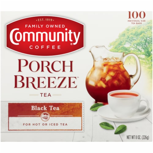 Community Coffee Porch Breeze Black Tea Bags Perspective: front