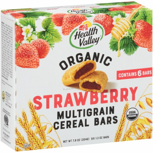 Health Valley Organic Strawberry Cobbler Multigrain Cereal Bars Perspective: front