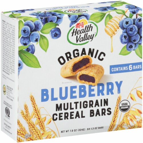 Health Valley Organic Blueberry Cobbler Multigrain Cereal Bars Perspective: front