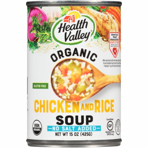 Health Valley Organic No Salt Added Chicken Rice Soup Perspective: front