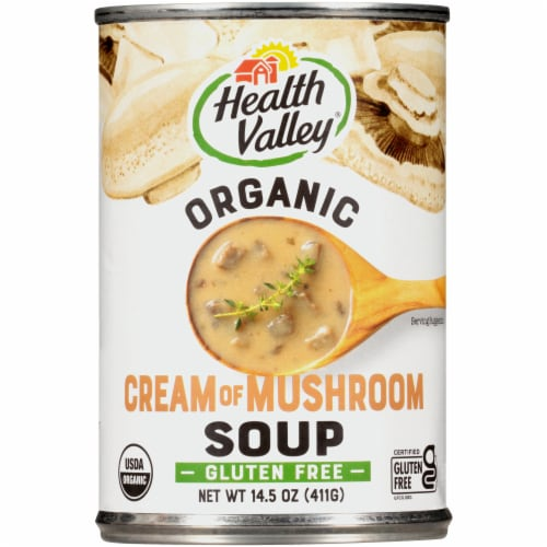 Health Valley Organic Cream of Mushroom Soup Perspective: front