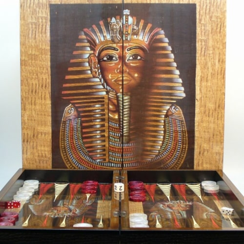 World Wise 26231T 25 mm King Tut Decoupage Backgammon Set Perspective: front