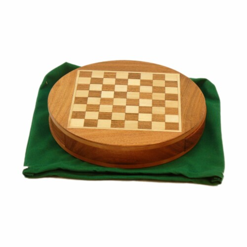 Wordlwise Magnetic Round Wood Inlaid Chess Set Perspective: front