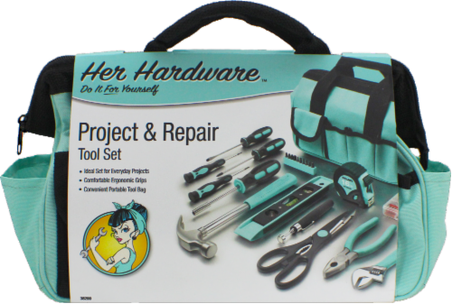 Her Hardware Project & Repair Tool Set - Teal Perspective: front