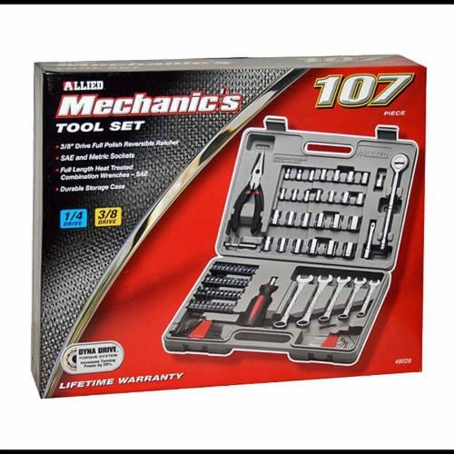 Allied Mechanic's 107-Piece Ratchet and Socket Wrench Tool Set Perspective: front