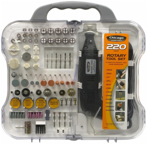 Chicago Power Tool 220 Piece Rotary Tool Set Perspective: front
