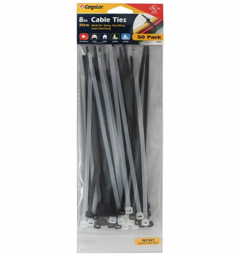 CargoLoc 8-Inch Cable Ties - Clear/Black Perspective: front