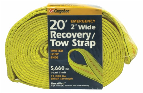 CargoLoc Recovery/Tow Strap - Yellow Perspective: front