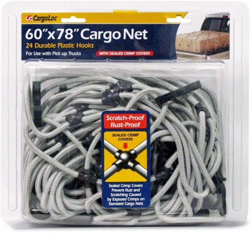 CargoLoc Cargo Net with Sealed Crimp Covers - Silver Perspective: front