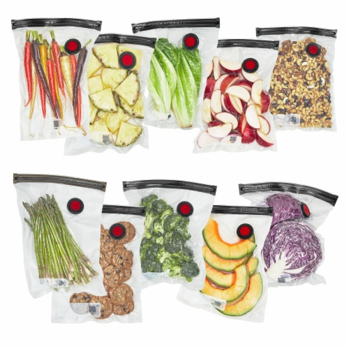 ZWILLING Fresh & Save 10-pc Vacuum Sealer Bags, Sous Vide Bags, Meal Prep - Medium Perspective: front