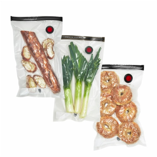 ZWILLING Fresh & Save 3-pc Vacuum Sealer Bags, Sous Vide Bags, Meal Prep - Large (Set of 3) Perspective: front
